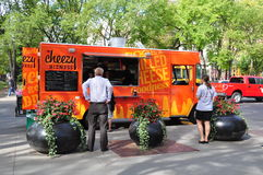 Camion dell'alimento di Cheezy Bizness Immagine Stock