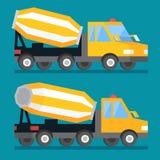 Camion della betoniera della costruzione di edifici Macchina di vettore del trasporto del cemento Fotografia Stock Libera da Diritti