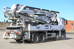 Camion della pompa per calcestruzzo di Mercedes-Benz Arocs Schwing Stetter Mobile Fotografia Stock