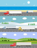 camion della spagna della strada dei pyrenees della montagna Concetto di consegna Immagine Stock Libera da Diritti