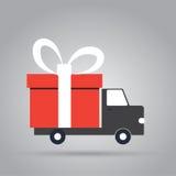 Camion di consegna con il contenitore di regalo Fotografia Stock Libera da Diritti