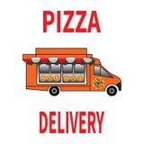 Camion di consegna della pizza con sunshede su bianco illustrazione vettoriale