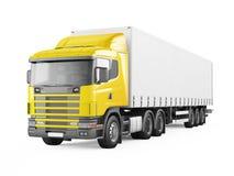 Camion di consegna giallo del carico Fotografia Stock Libera da Diritti
