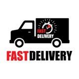 Camion di consegna nero con l'orologio veloce di consegna dentro Segno veloce di consegna per il vettore eps10 di web design royalty illustrazione gratis