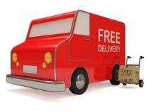 Camion di consegna Van e di mano con una casella royalty illustrazione gratis