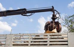 Camion di immondizia con idraulico manuale Artigli della testina mobile meccanica Fotografie Stock