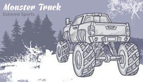 Camion di mostro di schizzo sul paesaggio grafico della foresta illustrazione vettoriale
