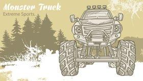 Camion di mostro di schizzo sul paesaggio grafico della foresta Retro illustrazione di vettore Sport estremi Avventura, viaggio royalty illustrazione gratis