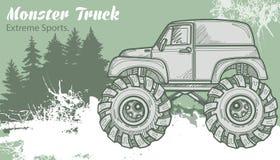 Camion di mostro di schizzo sul paesaggio grafico della foresta Retro illustrazione di vettore Sport estremi Avventura, viaggio illustrazione vettoriale