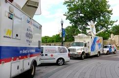 Camion di notizie della TV Fotografia Stock
