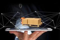 Camion di pallet e carboxes con il sistema della connessione di rete - 3d con riferimento a Immagini Stock Libere da Diritti