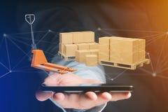Camion di pallet e carboxes con il sistema della connessione di rete - 3d con riferimento a Immagini Stock