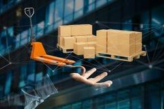 Camion di pallet e carboxes con il sistema della connessione di rete - 3d con riferimento a Fotografie Stock