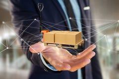 Camion di pallet e carboxes con il sistema della connessione di rete - 3d con riferimento a Immagine Stock