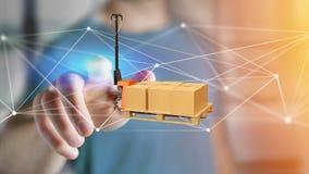 Camion di pallet e carboxes con il sistema della connessione di rete - 3d con riferimento a Fotografia Stock Libera da Diritti