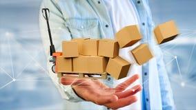 Camion di pallet e carboxes con il sistema della connessione di rete - 3d con riferimento a Fotografia Stock