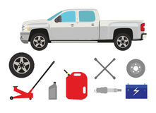 Camion di raccolta con il gruppo di elementi dell'officina riparazioni royalty illustrazione gratis