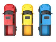 Camion di raccolta moderni rossi, blu e gialli - vista superiore immagine stock libera da diritti