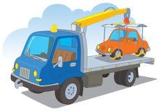 Camion di rimorchio con una carrozza ferroviaria Fotografia Stock Libera da Diritti