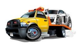 Camion di rimorchio del fumetto isolato su priorità bassa bianca royalty illustrazione gratis