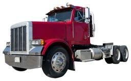 Camion di rimorchio del trattore dei 18 carrai isolato su bianco Fotografia Stock