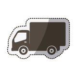 camion di trasporto della siluetta dell'autoadesivo con il vagone Fotografia Stock Libera da Diritti