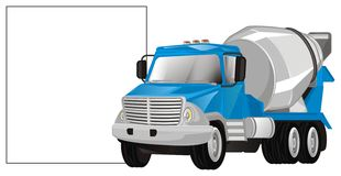 Camion e manifesto del cemento illustrazione vettoriale