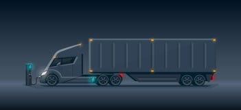 Camion elettrico scuro futuristico moderno dei semi con il carico del rimorchio Immagini Stock