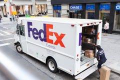Camion exprès de Fedex à New York City Photo stock