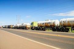 Camion fermati sulle strade principali per la protesta l'aumento diesel di prezzi Immagine Stock Libera da Diritti