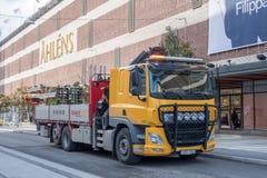 Camion giallo della costruzione fotografia stock