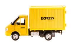 Camion giallo isolato Fotografia Stock Libera da Diritti