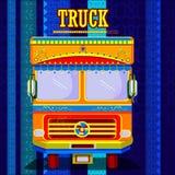 Camion indiano che rappresenta l'India variopinta illustrazione vettoriale