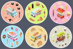 Camion isometrici dell'alimento della via messi Fotografia Stock Libera da Diritti