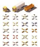 Camion isometrici di vettore con l'insieme dell'icona dei semirimorchi illustrazione di stock