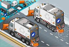 Camion isometrico dell'aratro di neve nella retrovisione Fotografia Stock
