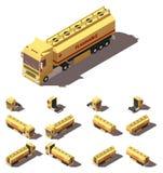 Camion isometrico di vettore con l'insieme liquido dell'icona del semirimorchio del carro armato illustrazione vettoriale