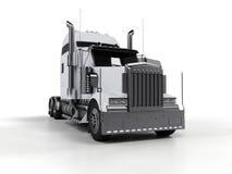 Camion lourd blanc d'isolement sur le fond blanc Photo libre de droits