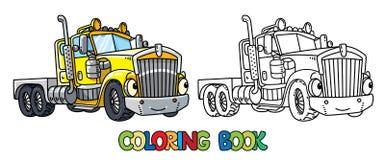 Camion lourd drôle avec des yeux Livre de coloration illustration stock