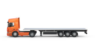 Camion lungo arancio della piattaforma Fotografie Stock