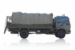 Camion militare isolato su fondo bianco Fotografia Stock Libera da Diritti