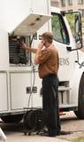 Camion mobile di notizie Fotografia Stock