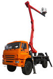 Camion moderno con un dispositivo di sollevamento Fotografie Stock