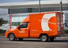 Camion pick-up logistique de récipient de TNT Photos stock