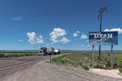 Camion on Road Welcome to Utah. Royalty Free Stock Photo