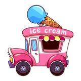Camion rosa del gelato del fumetto sul fondo di bianco di а Fotografia Stock