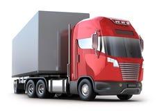 Camion rosso con il contenitore Fotografia Stock