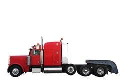 Camion rosso del carico isolato sopra priorità bassa bianca con il picchiettio di residuo della potatura meccanica immagine stock libera da diritti