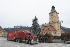 Camion rosso della coca-cola Immagine Stock Libera da Diritti