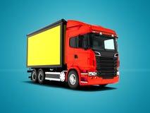 Camion rouge avec le corps jaune avec des insertions de noir pour le transport illustration libre de droits